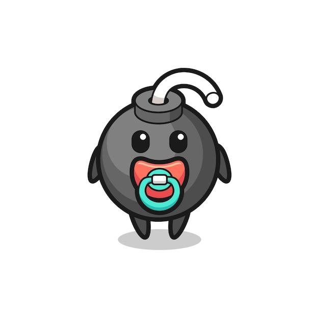 Personagem de desenho animado de bomba de bebê com chupeta, design de estilo fofo para camiseta, adesivo, elemento de logotipo