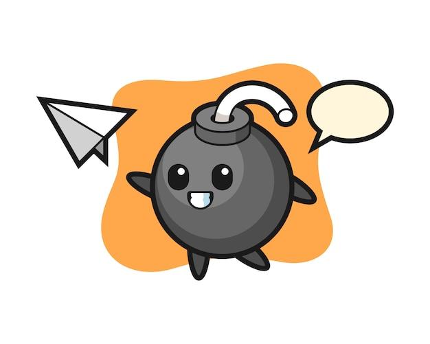 Personagem de desenho animado de bomba jogando avião de papel