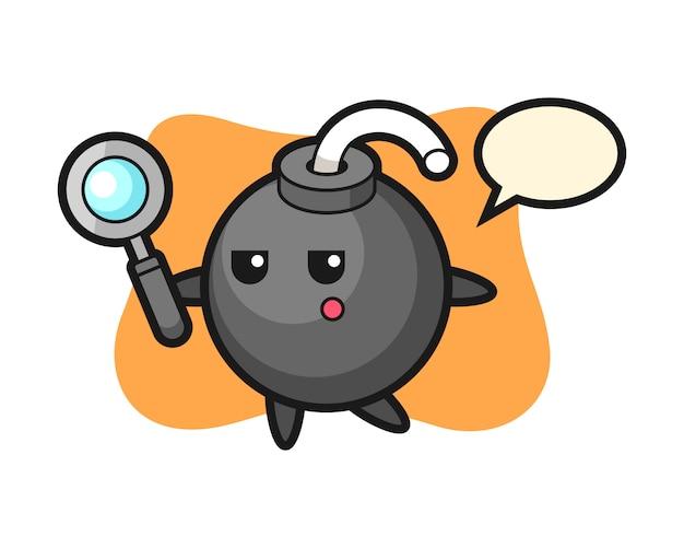 Personagem de desenho animado de bomba procurando com uma lupa