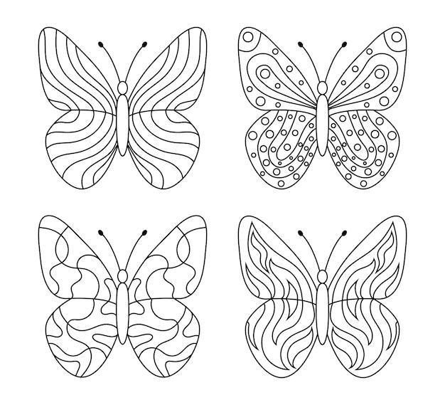 Personagem de desenho animado de borboleta em preto e branco