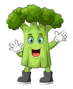 Personagem de desenho animado de brócolis feliz