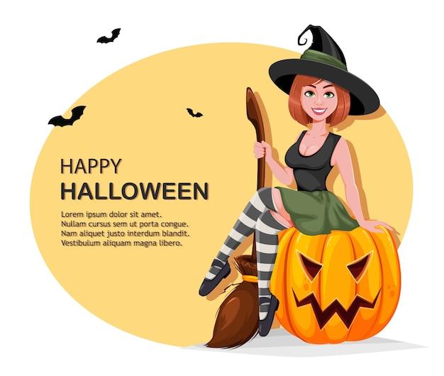 Personagem de desenho animado de bruxa linda sentada na abóbora