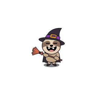 Personagem de desenho animado de bruxa preguiça de halloween