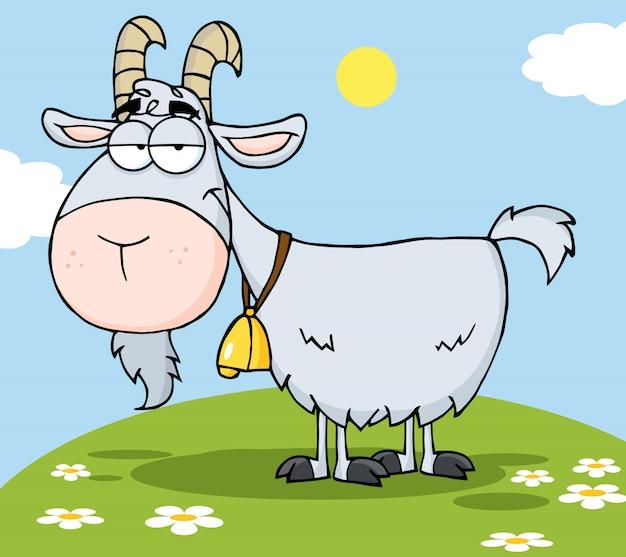 Personagem de desenho animado de cabra em uma colina