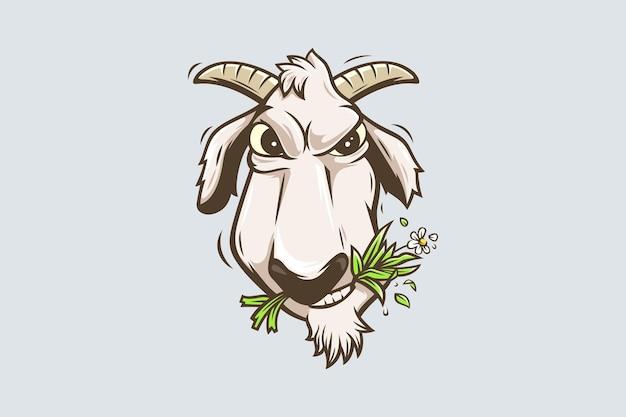 Personagem de desenho animado de cabras mascando grama