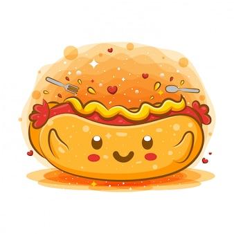 Personagem de desenho animado de cachorro-quente com mostarda kawaii