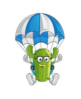 Personagem de desenho animado de cacto fazendo paraquedismo
