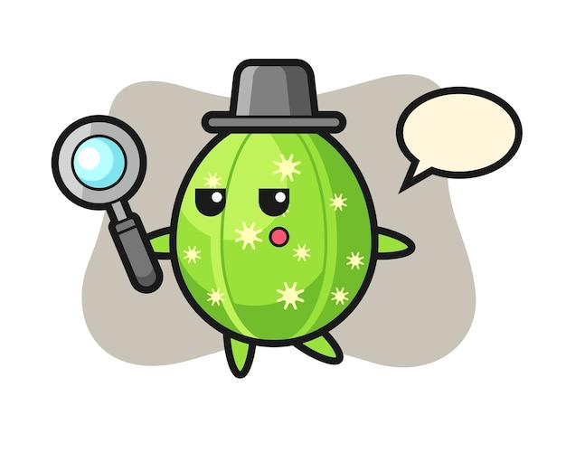 Personagem de desenho animado de cacto procurando com uma lupa
