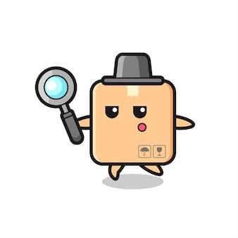 Personagem de desenho animado de caixa de papelão procurando com uma lupa, design de estilo fofo para camiseta, adesivo, elemento de logotipo