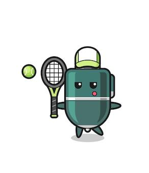 Personagem de desenho animado de caneta esferográfica como um jogador de tênis, design fofo
