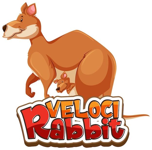 Personagem de desenho animado de canguru com banner de fonte velocirabbit isolado