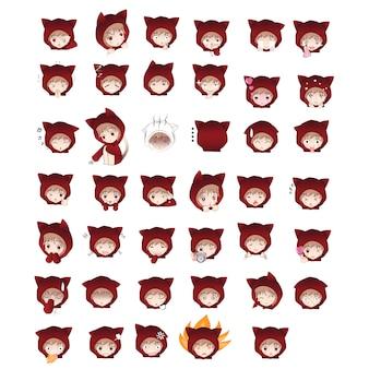 Personagem de desenho animado de capuz gato em ações