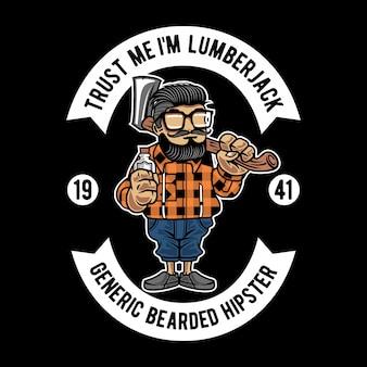 Personagem de desenho animado de cara barbudo