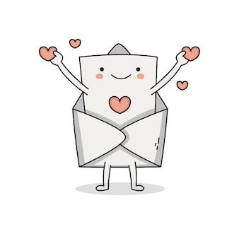 Personagem de desenho animado de carta de amor fofa