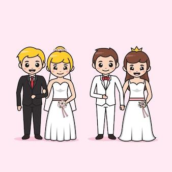 Personagem de desenho animado de casal de noivos fofos Vetor Premium