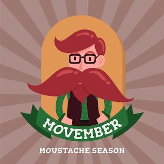 Personagem de desenho animado de cavalheiro hipster distintivo de movember