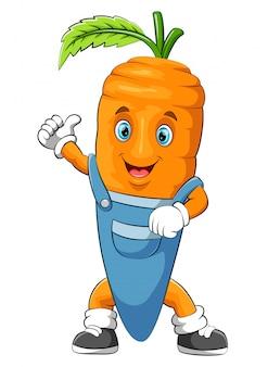 Personagem de desenho animado de cenoura engraçada