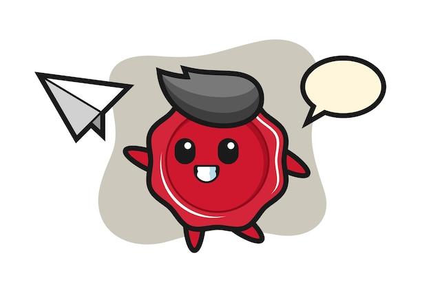 Personagem de desenho animado de cera jogando avião de papel