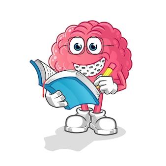 Personagem de desenho animado de cérebro nerd