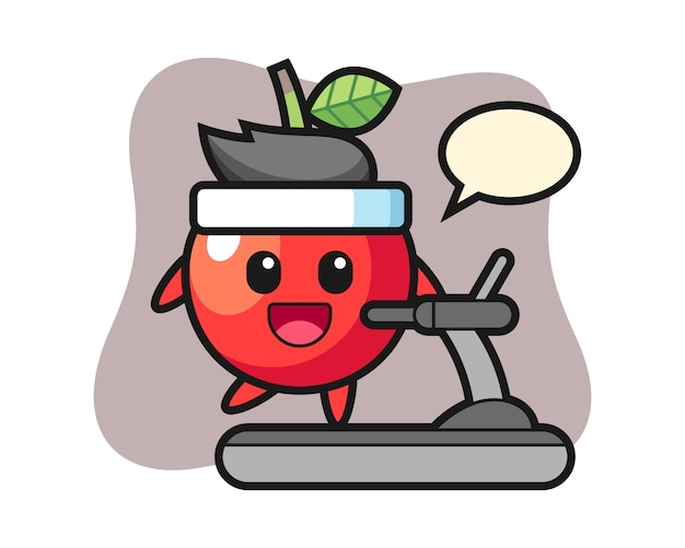 Personagem de desenho animado de cereja andando na esteira, design de estilo bonito