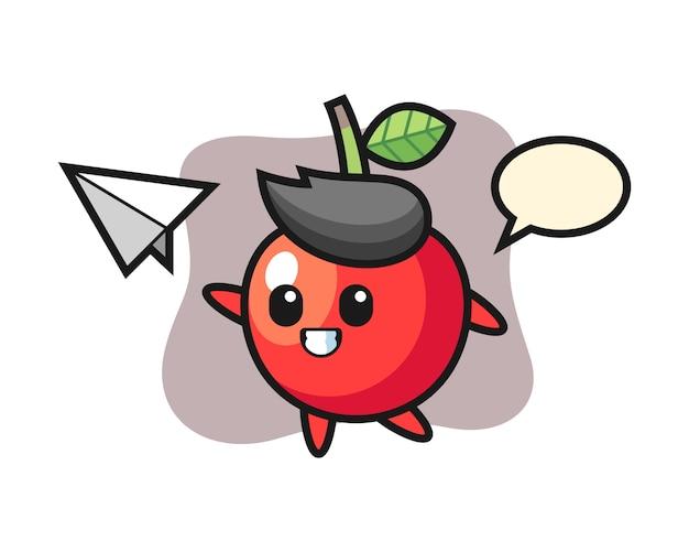 Personagem de desenho animado de cereja jogando o avião de papel, design de estilo bonito