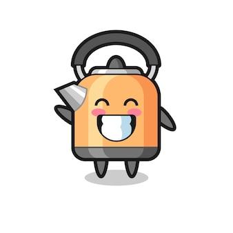 Personagem de desenho animado de chaleira fazendo gesto de onda com a mão, design de estilo fofo para camiseta, adesivo, elemento de logotipo