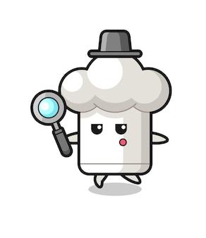 Personagem de desenho animado de chapéu de chef procurando com uma lupa, design de estilo fofo para camiseta, adesivo, elemento de logotipo