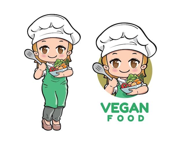 Personagem de desenho animado de chef vegano