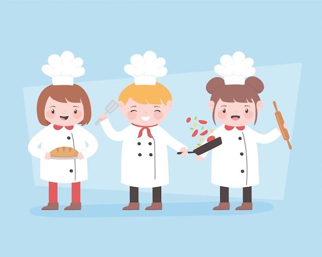 Personagem de desenho animado de chefs com pino de rolo e pão