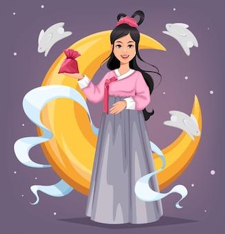 Personagem de desenho animado de chuseok hangawi em design plano