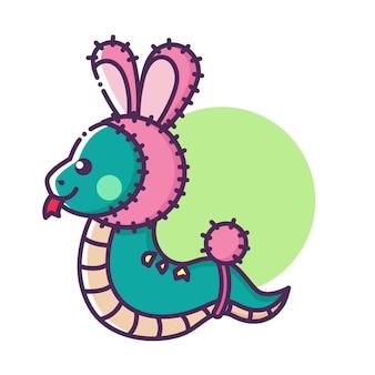 Personagem de desenho animado de cobra com chapéu e cauda de coelho