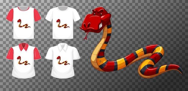 Personagem de desenho animado de cobra vermelha com muitos tipos de camisas