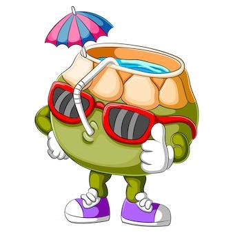 Personagem de desenho animado de coco engraçado desistir de polegar
