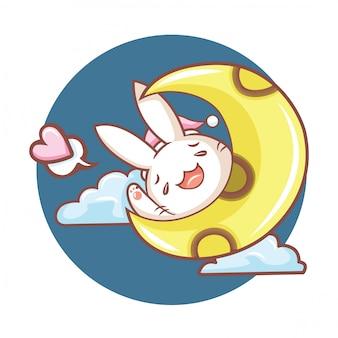 Personagem de desenho animado de coelho fofo