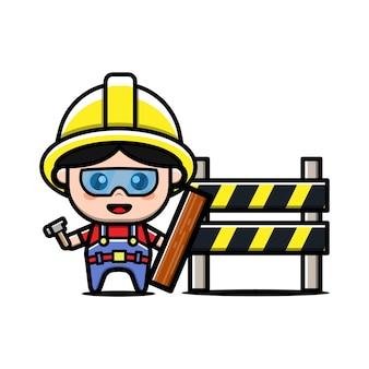 Personagem de desenho animado de construtor fofo