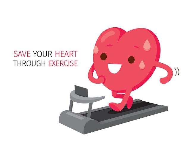 Personagem de desenho animado de coração correndo na esteira e salvando seu coração com textos de exercícios