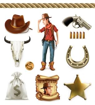 Personagem de desenho animado de cowboy e objetos. aventura ocidental.