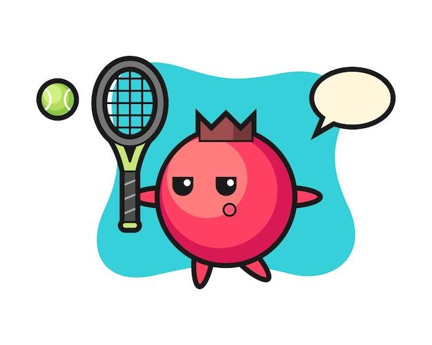 Personagem de desenho animado de cranberry como jogador de tênis, estilo fofo, adesivo, elemento de logotipo
