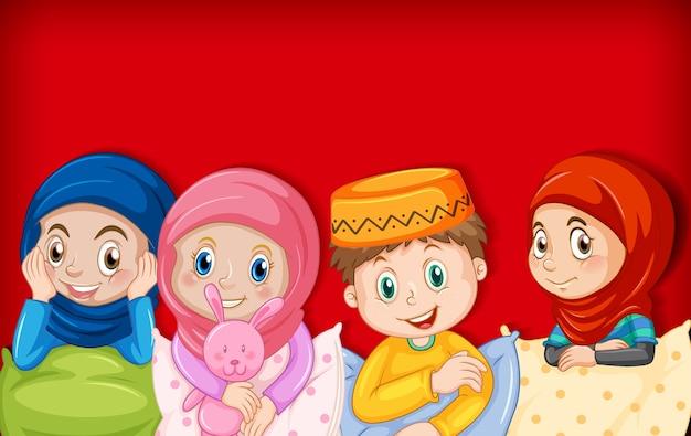 Personagem de desenho animado de crianças muçulmanas