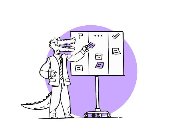 Personagem de desenho animado de crocodilo como gerente de projeto. scrum board, planejamento diário, método ágil