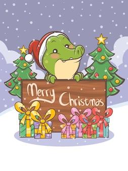 Personagem de desenho animado de crocodilo fofo - ilustração de natal