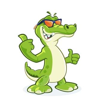 Personagem de desenho animado de crocodilo sorridente com óculos de sol com o polegar para cima