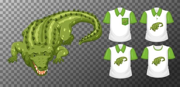 Personagem de desenho animado de crocodilo verde com muitos tipos de camisas