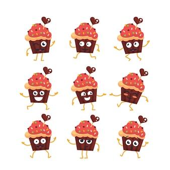 Personagem de desenho animado de cupcake - vetor moderno conjunto de ilustrações de mascote - dançando, sorrindo, se divertindo. emoticons, felicidade, emoções, surpresa, piscando,