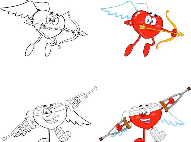 Personagem de desenho animado de cupido do coração.