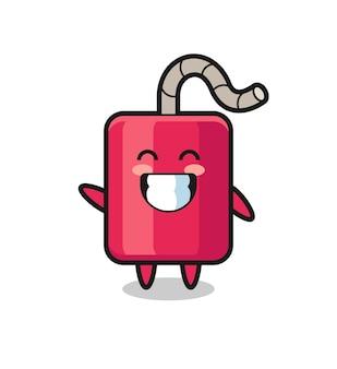 Personagem de desenho animado de dinamite fazendo um gesto com a mão em forma de onda, design de estilo fofo para camiseta, adesivo, elemento de logotipo