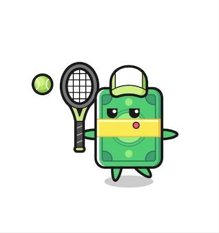 Personagem de desenho animado de dinheiro como jogador de tênis, design de estilo fofo para camiseta, adesivo, elemento de logotipo