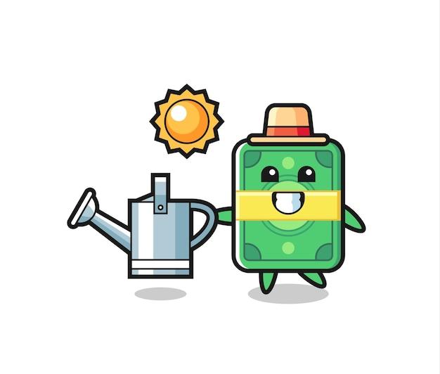 Personagem de desenho animado de dinheiro segurando um regador, design de estilo fofo para camiseta, adesivo, elemento de logotipo