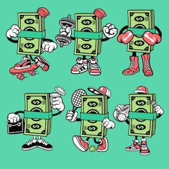 Personagem de desenho animado de dinheiro