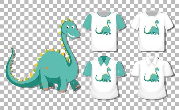 Personagem de desenho animado de dinossauro com um conjunto de diferentes camisas isoladas em fundo transparente